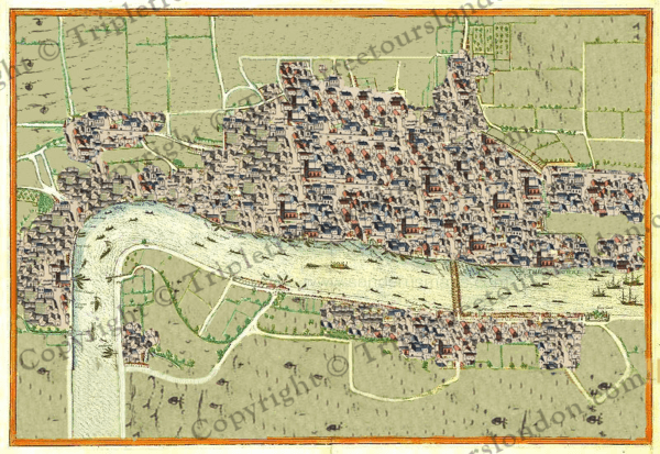 Map of London 1540s London